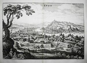 Lyon vue Auvergne France Frankreich gravure engraving Merian Kupferstich 1650