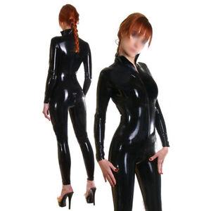 Women Latex Catsuit Front Zipper Handmade Bodysuit Rubber Costumes Club Wear