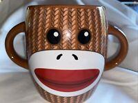 Sock Monkey Coffee Cup Mug Brown White Double Handle Galerie Ceramic Galerie