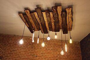Deckenlampe Holz Rustikal Vintage Mit Edison Globe Nostalgie Lampen 10 Leuchten