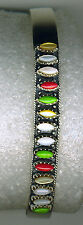 925 Sterling Silver Multi Stone Multi Colour Adjustable Bangle  Solid Cuff Band