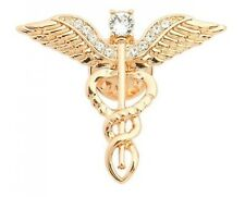 Caduceus Pin Symbol Of Medicine Crystal Metal Brooch Jewelry For Medical Student
