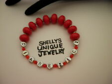 "Handmade 7"" DIABETIC 2 Red Awareness ID Alert Bead Medical Bracelet/JewelryWomen"