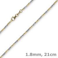 1,8mm Armband Armkette Kugelkette diamantiert 585 Gold Gelbgold Weißgold 21cm