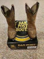 Dan Post Shane Kids Brown Leather Cowboy Boots Toddler Size 9.5