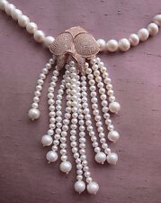 """White Freshwater Cultured Pearl Necklace with Orchid Flower - 22"""" long 9/10 mm"""