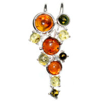 4.5g Authentic Baltic Amber 925 Sterling Silver Pendant Jewelry N-A1725