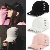 KPOP Boys Hat Iron Ring Baseball Adjustable Cap Hip Hop Snapback Gothic Cap