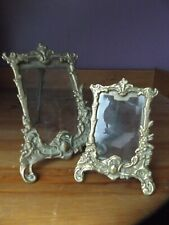 2 Vintage Ornate Rococo French Style  Brass Picture Photo Frames Freestanding