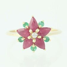 New Gemstone Flower Ring - 14k Yellow Gold Ruby Emerald Diamond Floral 1.66ctw