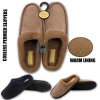 MENS COOLERS SLIPPERS SLIP ON CLOG MULES FLEECE FUR LINED CORD WINTER SHOES SIZE