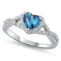 Sterling Silver 925 HEART LOVE KNOT BLUE TOPAZ CZ PROMISE RING 8MM SIZE 4-12