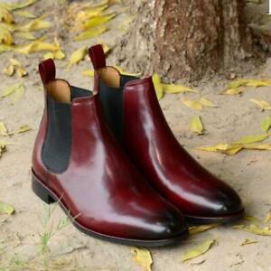 Elegant Men's Handmade burgundy color Chelsea Leather Boots