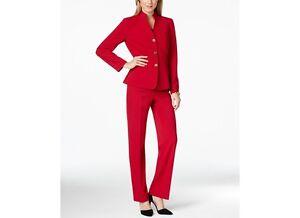 Tahari ASL Stand Collar Bi-Stretch Red Sz 6 Pantsuit Rg $280 NWT F
