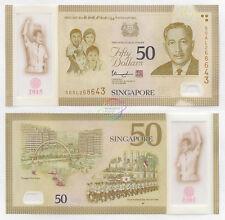 SINGAPORE 50 Dollars w/1 Star 2015 SG50 Commemorative P-61 Polymer UNC