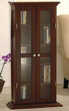 Cd/Dvd Multimedia Storage Cabinet Walnut Organiser Shelves Glass Door Furniture