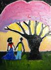 """Original oil painting Magic tree without frame size 9x7"""" (24x18 cm) canvas board"""