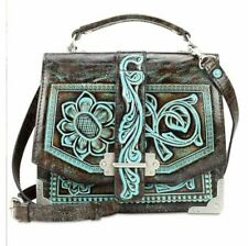 Patricia Nash Stella Turquoise Tooled Leather Shoulder Bag RET $249.00