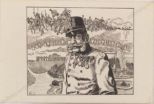 """""""Kaiser Franz Josef I"""", Austrian Ink Drawing, ca.1915"""
