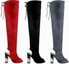 Womens Lace Up Over Knee High Boots Open Toe Block High Heels Fashion Shoes Size