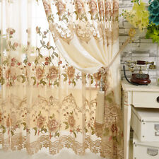 European Delicate Embroidered Sheer Tulle Hollowed Velvet Cloth Curtains 1 PC