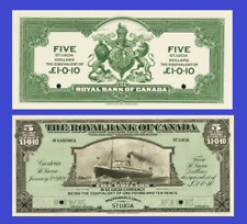 St. Lucia 5 dollars 1920 UNC - Reproduction