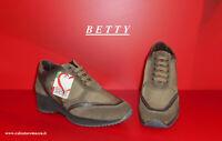 """Sneakers in Camoscio e Tessuto """" BETTY """" Tortora -60% Prodotto ITALIANO BE408Cto"""
