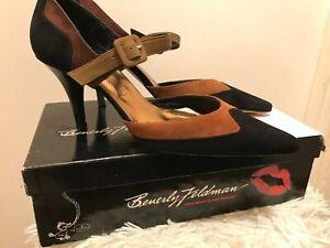 Beverly Feldman Russell & Bromley Black Multi Suede AMBER Mary Janes UK 4.5