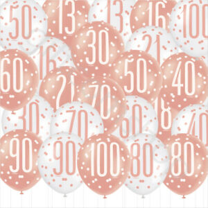 Rose Gold Age Birthday Balloons 16th 18th 21st 30th 40th Birthday Decorations x6