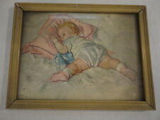 "Vintage Radio Picture Frame Company Baby Sleeping Print Framed ( 7"" X 9"" ) USA"