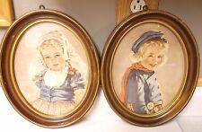 Vintage Ann Allaban (2) oval pictures Dutch boy Adrian Dutch girl Katrina framed