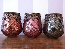 Windlicht Shabby chic Glas mit Metall Rand Teelicht einzeln oder Set Tisch-deko