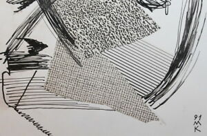Modernism Composition Ink / Collage Drawing Signed