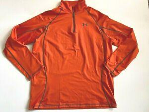 Under Armour Sweatshirt Men's Extra Large Loose Fit Bright Orange Coldgear