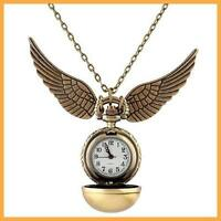 Harry Potter Snitch Watch Necklace Steampunk Quidditch Pocket Clock Pendant HOT