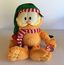 "Garfield Plush TY Beanie Buddies Cat Stuffed Animal Toy Christmas Hat Scarf 12"""
