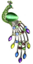 Green Sparkling Opal Rhinestone Crystal Peacock Brooch