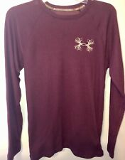 Under Amour Loose Mens Antler Burgundy Long Sleeve Waffle Thermal Size Small