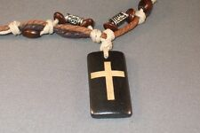 Christian Pendant Necklace BONE CROSS INLAY Leather Cord Bead Accent Surfer GIFT