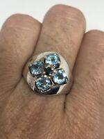 Vintage Blue Topaz Ring 925 Sterling Silver Size 9