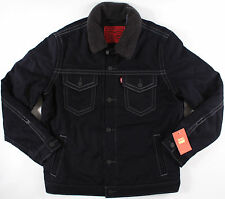 LEVI'S wool Dbl Stitch Slim SHERPA JACKET- L -NEW- navy denim trucker coat-$198