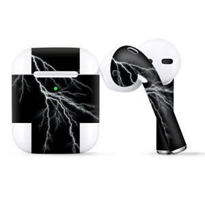 Skins Wraps compatible for Apple Airpods  white lighting black background