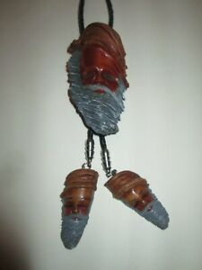 BOLO TIE  HAND CARVED WOOD BEARED MAN with matching tips