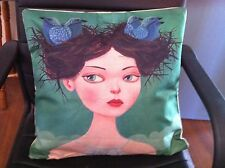 Retro Girl With Birds Nest Hair Linen Square Pillow Cushion Cover.
