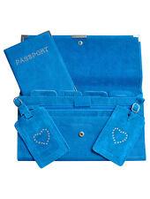 Suede 4pcs Travel Wallet Organiser Document Set Ocean Blue - Brand New