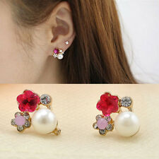 Fashion Womens Colorful Flower Earrings Crystal Rhinestone Pearl Ear Stud