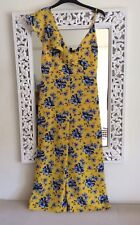 Topshop Yellow and Blue Floral Print Jumpsuit UK Size 8