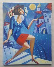 Isaac Kaplan B 1969 fantástico firmada pintura al óleo originales by 'Lunatique'
