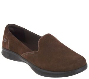 Skechers GOstep Lite Suede Slip-On Shoes Delight Chocolate Size 9.5 Wide