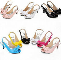 Ladies Peep Toe Kitten Heels Patent BowKnot Slingback Shoes Sandals All Uk SZ#